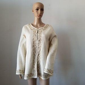 April Cornel Tunic Silk Beige Top, Large